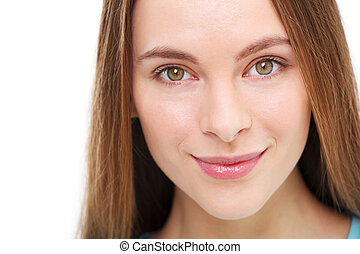 piękna kobieta, młody, odizolowany, white., portret