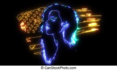 piękna kobieta, młody, tło., bandera, ożywienie, amerykanka