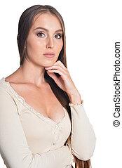 piękna kobieta, młody, tło, portret, biały