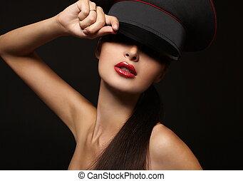 piękna kobieta, młody, usteczka, czarne tło, portret, czerwony