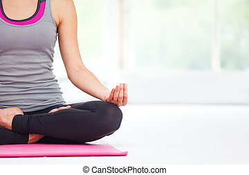piękna kobieta, młody, yoga.