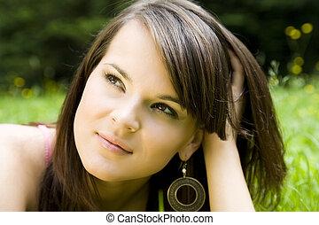 piękna kobieta, młody