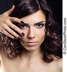 piękna kobieta, makijaż, młody, closeup, portret