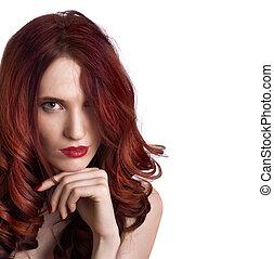 piękna kobieta, makijaż, młody, twarz, jasny