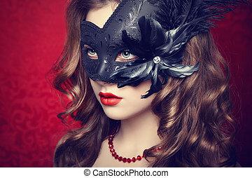 piękna kobieta, maska, młody, wenecjanin, czarnoskóry, tajemniczy