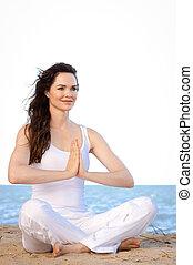 piękna kobieta, medytacja, młody, atak