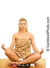 piękna kobieta, medytacja, młody, odizolowany, tło, biały