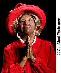 piękna kobieta, modlący się, afrykańska-amerikanka