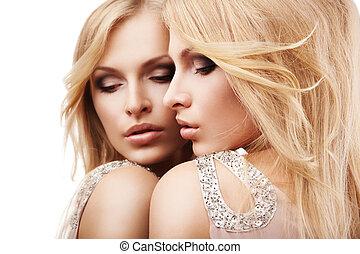 piękna kobieta, na, młody, lustro, sexy, biały