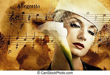 piękna kobieta, na, tło, melodia, abstrakcyjny