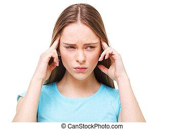 piękna kobieta, odizolowany, młody, white., ból głowy