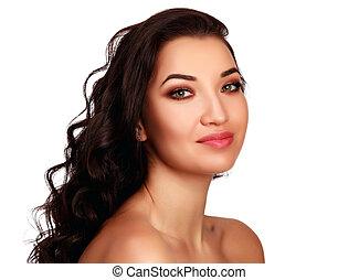 piękna kobieta, odizolowany, tło, brunetka, portret, biały