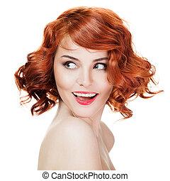 piękna kobieta, odizolowany, tło, portret, uśmiechanie się, biały