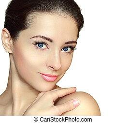 piękna kobieta, odizolowany, twarz, patrząc, closeup, czysty, portret, smile.