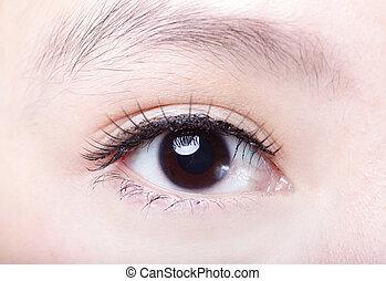 piękna kobieta, oko, zatkać się