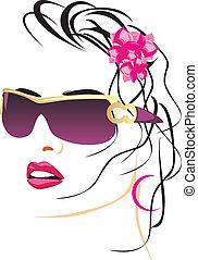 piękna kobieta, okulary