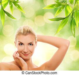 piękna kobieta, organiczny, jej, młody, kosmetyki, skóra, zwracający się