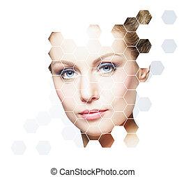 piękna kobieta, piękno, concept., plastyk, młody, operacja, kosmetyki, medycyna, świeży