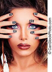 piękna kobieta, piękno, makeup., twarz, closeup, portret, wzór