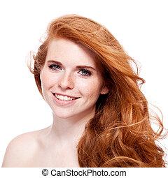 piękna kobieta, piegi, młody, rudzielec, portret