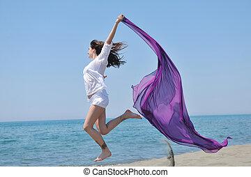 piękna kobieta, plaża, młody, szalik