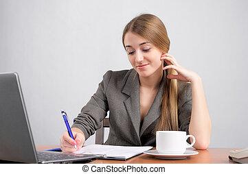 piękna kobieta, planowanie, praca
