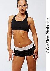 piękna kobieta, po, stosowność, exercise.