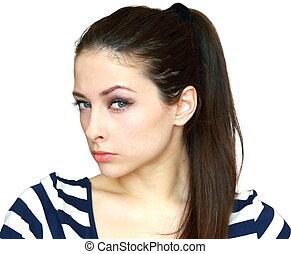 piękna kobieta, podejrzany, młody, odizolowany, closeup, tło, portret, biały