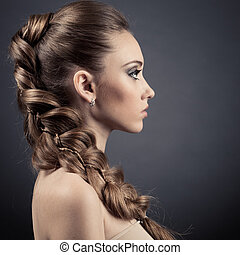 piękna kobieta, portrait., długi brunatny włos