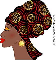 piękna kobieta, (profile, afrykanin, portret, view)