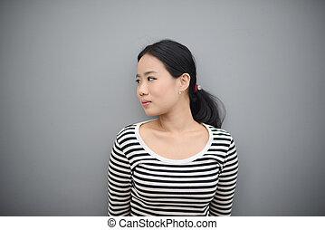 piękna kobieta, przestrzeń, tekst, thai, uśmiechanie się, kopia, strój, przypadkowy