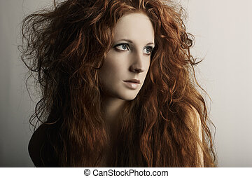 piękna kobieta, redheaded, młody, fason, portret