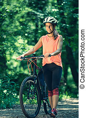 piękna kobieta, rower
