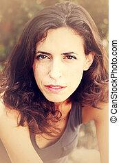 piękna kobieta, stary, 35, lata, portret