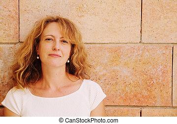piękna kobieta, stary, 40, lata, outdoors, portret