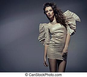 piękna kobieta, strój, młody