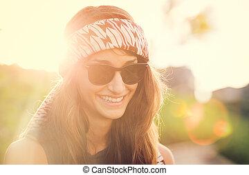piękna kobieta, styl życia, młody, fason, portret