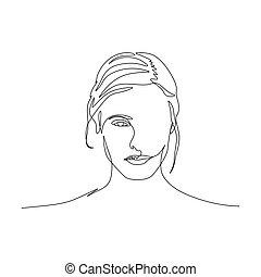 piękna kobieta, sztuka, face., ciągły, jeden, symetryczny, portret, kreska