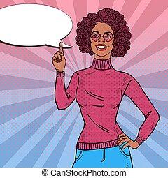 piękna kobieta, sztuka, hairstyle., partia., hukiem, dyskoteka, wektor, ilustracja, afro