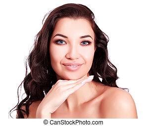 piękna kobieta, tło, młody, odizolowany, portret, biały