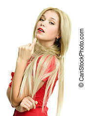 piękna kobieta, tło, portret, blondynka, biały