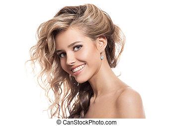 piękna kobieta, tło, portret, uśmiechanie się, biały