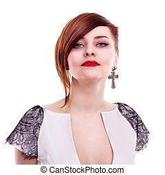 piękna kobieta, tło, szykowny, portret, biały