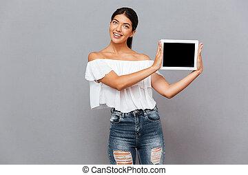 piękna kobieta, tabliczka, pokaz, młody, komputer, okienko osłaniają
