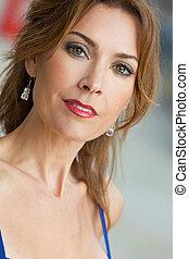 piękna kobieta, trzydzieści, jej, młody, na wolnym powietrzu, portret