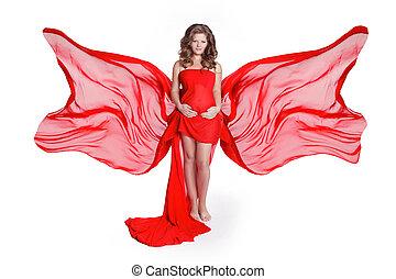 piękna kobieta, uderzanie, jej, brzuch, w, podmuchowy, czerwony, budowla, strój, odizolowany, na białym, tło., fotografia studia