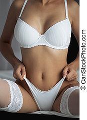 piękna kobieta, underwear., body., stosowność, dziewczyna, biały