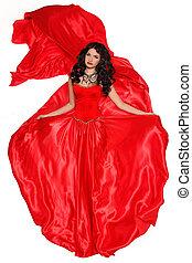 piękna kobieta, w, czerwony strój, odizolowany, na białym, tło., studio, photo.