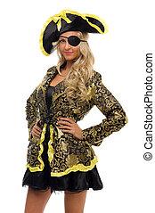 piękna kobieta, w, niejaki, karnawał, costume., pirat,...