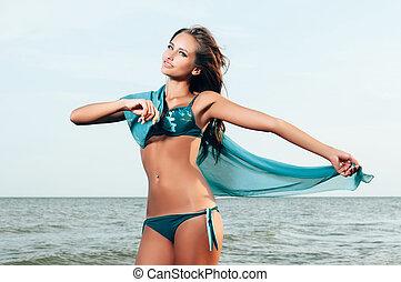 piękna kobieta, w, niejaki, kostium kąpielowy